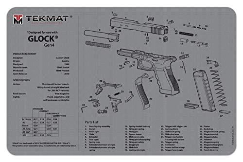 TekMat Reinigungsmatte mit Explosionszeichnung Glock Gen 4 (Grau) 43x28cm -