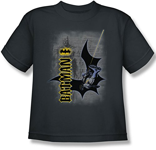 Batman - Swing Into Action Jugend T-Shirt in der Holzkohle, X-Large (18-20), Charcoal -