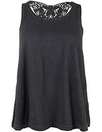 Urban Surface Damen Top mit Rücken aus Spitze | Sexy Spitzentop im Vintage-Look | Elegantes Shirt ärmellos & uni-farben