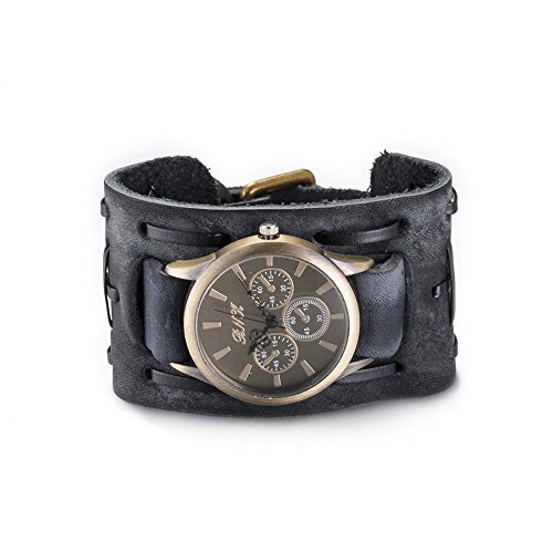 iLove EU Herren Armbanduhr Retro Breit Leder Echtleder Armband Armreif Gürtel Schnalle Analog Quarz Uhr Schwarz Bronze