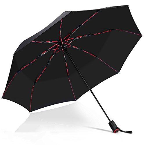 Automatische Taschenschirm VONDAVO – Sturmsicherer Regenschirm mit 8 rote fiberglas Rippen & 210T Teflonbeschichtung, Reise/Golfschirm, leicht stabil Kompakt Schirm für Reisen & Business | Dm. 105cm