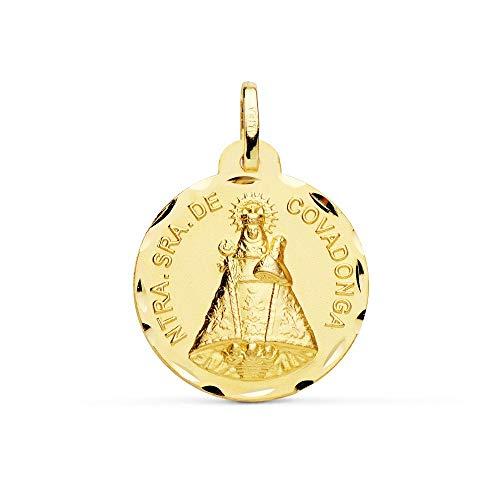 Medalla Oro 18K Virgen De Covadonga 22mm. Cerco Tallado [Ac0960]