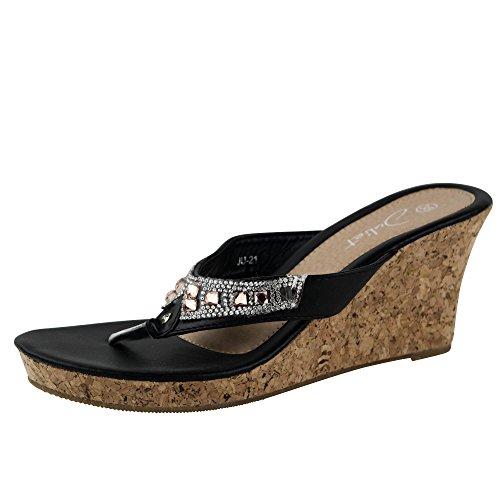 Damen Sandalen Sandaletten Keilabsatz Glitzer JU21 Wedge Plateau Schwarz