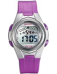 Lancardo Reloj Deportivo Digital Impermeable de 30m Multifunciones con Luces Pulsera Electrónica Correa de PVC Plástico para Actividad Deportes Exteriores para Chico Chica Niños (Púrpura)