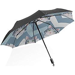 Paraguas de los Hombres Pequeño Bastante Lindo Inteligente Animal Mascota Gato Portátil Paraguas Plegable Compacto Protección Anti UV A Prueba de Viento Viajes al Aire Libre Paraguas de Mujer