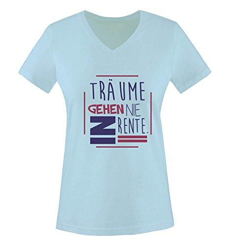 Comedy Shirts - Träume gehen nie in Rente. - Damen V-Neck T-Shirt - Hellblau / Lila-Fuchsia Gr. S (Träume Tank Gestrickte)