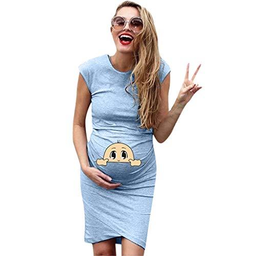 Schwanger Mutter Umstandsmode Sommerkleid Frauen Elegant Kurzarm Umstandskleid Mutterschafts Lose Kleid Schwangere Umstandskleid Solid Funny Baby Cartoon Print Rock
