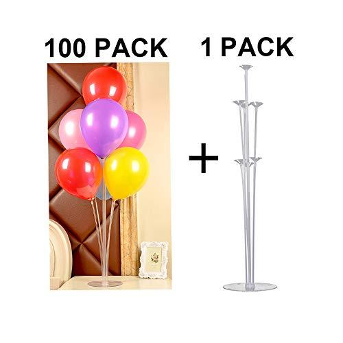 LEEBA Balloon Column Base, Display Frame Ballon Cup Bodenständer Stick Holder Stand Kit Ballon Tischständer Geschenk 100PCS Pearlized Latex Balloons