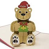 Tarjeta de Felicitación de Navidad con Osito de Peluche Emergente 3D – Etiquetas de Regalo – Accesorio de Papelería y Bricolaje - Articulo de Apoyo y Decoración de Fiesta Navideña y Temporada Festiva