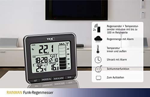 TFA Dostmann Rainman Funk-Regenmesser, 47.3004.01, kabellose Übertragung der Regenmenge, schwarz