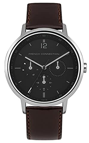 French Connection Men's Quartz Watch with Black Dial Analogue Display and Brown Leather Strap
