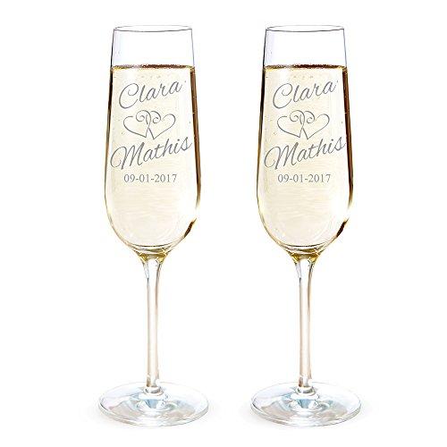Amavel Set de 2 flûtes à champagne avec gravure personnalisée [NOMS] et [DATE] - Motif: Cœurs - Verres à champagne - Cadeau de mariage - Cadeaux Saint Valentin