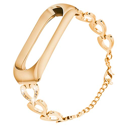 Miimall Armband Für Xiaomi Mi Band 3 / Mi Band 4, Damen Edelstahl Armbänder Metall Uhrenarmband Ersatzband Für Xiaomi Mi Band 3 / Mi Band 4 - Roségold -