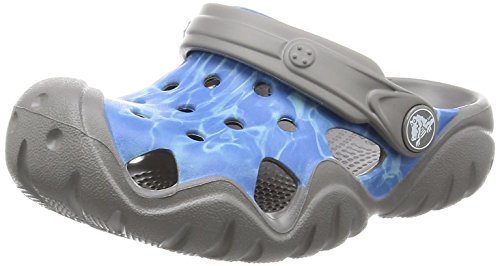 crocs Unisex-Kinder Swftwtrgrphclgk Clogs, Mehrfarbig (Multi-Color Blue), 23-24 EU
