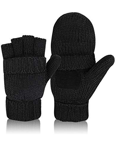 Petrunup Warme Halbfinger Wolle Handschuhe Cabrio Fingerlose Fleece Fäustlinge Männer Frauen Schwarz
