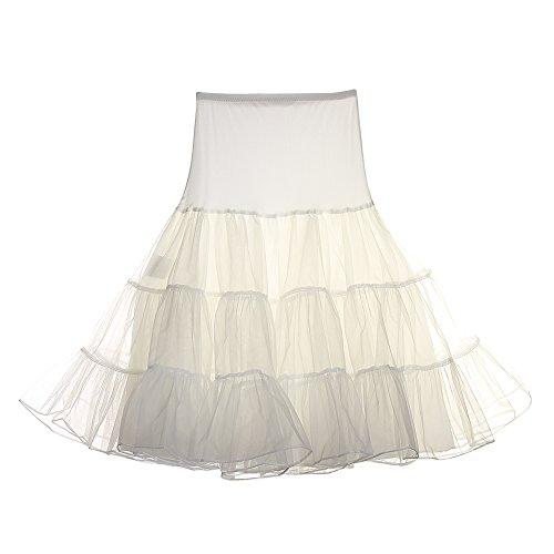 FeelinGirl Vintage Damen 50er Jahre Rockabilly Petticoat Wedding bridal Knielang unterrock -