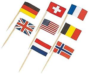 Amscan5310-30Mini pinchos con banderas, modelo aleatorio,6,5cm