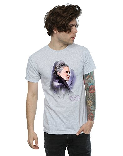 Star Wars Herren The Last Jedi Leia Brushed T-Shirt Sport Grey