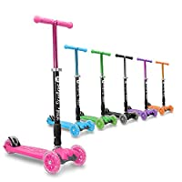 3StyleScooters® RGS-2 Kids Three Wheel Kick Scooter - Perfect For Children Aged 5+ - Featuring LED Light-Up Wheels, Foldable Design, Adjustable Handles & Lightweight Construction (Pink)