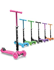 3StyleScooters® RGS-2 Kids 3 Wheel Kick Scooter - Perfect For Children Aged 5+ - Featuring LED Light-Up Wheels, Foldable Design, Adjustable Handles & Lightweight Construction