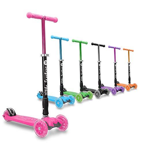 3Style Scooters® RGS-2 Monopattino a 3 Ruote per Bambini - Perfetto per i Bambini con più di 5 Anni - Dotato di Ruote LED Luminose, Design Pieghevole, Maniglie Regolabili e Struttura Leggera - Rosa
