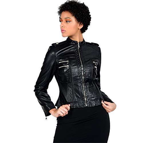 Frauen Moto Lederjacke, Rundhalsjacke, Kunstleder Style Cropped Jacke, Zip Slimmerbelt Gürtel, Biker Ledermantel, Schwarz,XXL