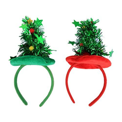 BESTOYARD 2 Stücke Weihnachtsbaum Hut Haarreif mit Stern -