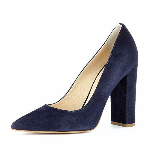 ALINA escarpins femme daim bleu foncé