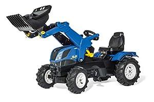 ROLLY TOYS 611270 RollyToys RollyTrac New Holland - Tractor de Pedales para niños de 3 a 8 años, neumáticos de Aire, Asiento Ajustable, Color Azul y Negro