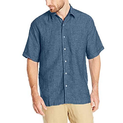urzarm Langarm Leinenhemd aus Baumwollmischung Sommer Freizeit, Männer Sommer Fashion Pure Baumwolle und Hanf Kurzarm Komfortables Top ()