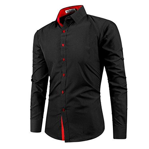 Kuson -  Camicia Casual  - Basic - Classico  - Maniche lunghe  - Uomo Noir+Rouge