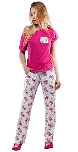 Sensis - Ensemble de pyjama - À Fleurs - Manches Courtes - Femme Rose - Rose bonbon