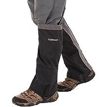 TOMSHOO Polainas Montaña Impermeable Unisex Protección a las Piernas Ultra-Ligero Resistente al Viento Frío o Nieve para Senderismo Esquí o Escalada al Aire Libre (Negro, Un par)