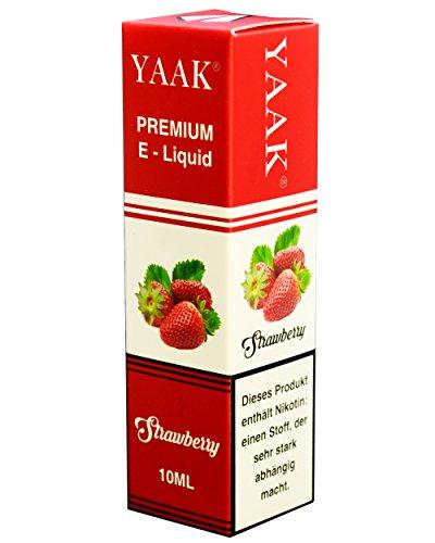 YAAK® Premium E-Liquid 1 x 10 ml Erdbeere ohne Nikotin / E-Zigaretten, Elektrische-Zigarette, E-Shisha / Fruchtgeschmack Strawberry Ziel Nikotin