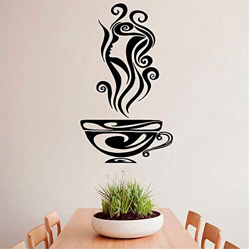 GJQFJBS Taza de café caliente Aroma Girl Hair Profile Pegatinas de pared Kitchen Cafe Design Wall Vinyl Decal Sticker Art Mural Wall Stickers Green 83cmX44cm