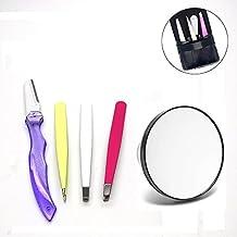 Pinkiou ceja cejas Shaper Set ceja incluye 3 piezas pinzas, 1 pieza de rasurador de cejas y 1 pieza espejo de aumento