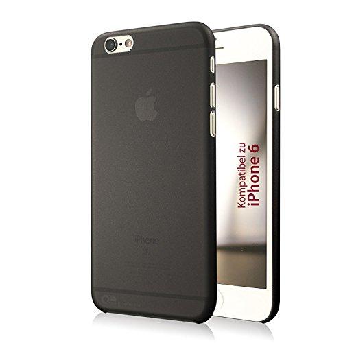 iPhone 6 Hülle, iPhone 6S Hülle, Ultra-Slim Case von QP, extrem schlanke und dünne Schutzhülle, leicht transparent, Cover matt schwarz (Apple Iphone6 Silikonhülle)