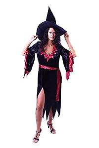 Marco Porta 3339 M - vestido de bruja disfraces de Halloween, tamaño M, negro/rojo