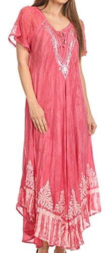 Lace Kaftan (Sakkas 16601 - Ronny Lace Besticktes Cap Ärmel Krawatte Dye Wash Kaftan Kleid/Cover Up - Blush - OS)