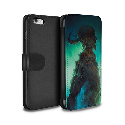 Offiziell Chris Cold PU-Leder Hülle/Case/Tasche/Cover für Apple iPhone 6S / Gevatter Tod Muster / Dämonisches Tier Kollektion Gehörnter Dämon