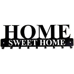 """tradeNX Tastiera a muro """"Home Sweet Home"""" con 9 ganci in acciaio neri - montaggio a parete per giacche, chiavi o asciugamani - hardware di montaggio incluso"""