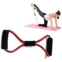 Anam 8forma bandas de ejercicio entrenamiento de fuerza resistencia banda tubo cuerda para Yoga, Pilates y ejercicio, granate