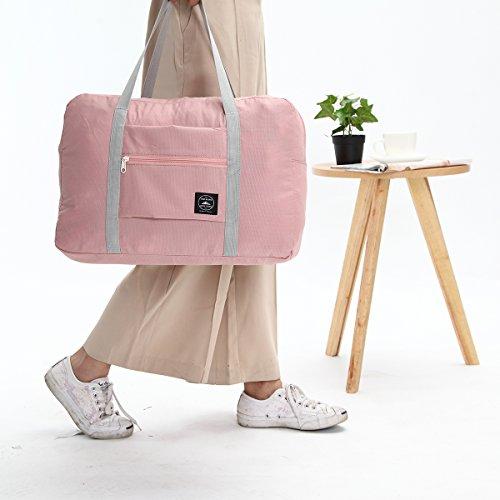 Reisen Tasche, Tezoo Faltbar Wasserdicht Ultra Weich mit Reißverschluss Große Kapazität Beutel Aufbewahrung-Tasche Handtasche Umhängetasche Rosa Rosa