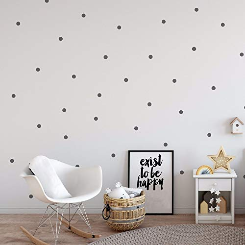 witgift Wandtattoo Dot Aufkleber 216 Punkte,Grau Dots Punkte Aufkleber,Wandtattoo Punkte für Kinderzimmer Schlafzimmer,3CM - Grau Dot