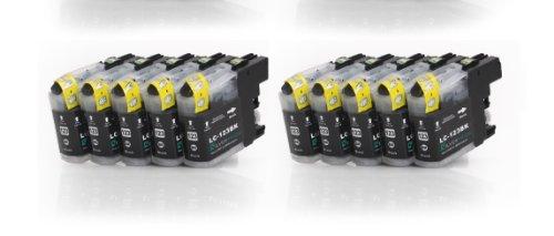 Preisvergleich Produktbild 10x schwarz XL Druckerpatronen (LC-121BK/LC-123BK) kompatibel zu BROTHER mit CHIP für Brother DCP-J752DW MFC-J870DW J6920 DW J4110 DW J4410 DW J4510 DW J4610 DW J4710 DW