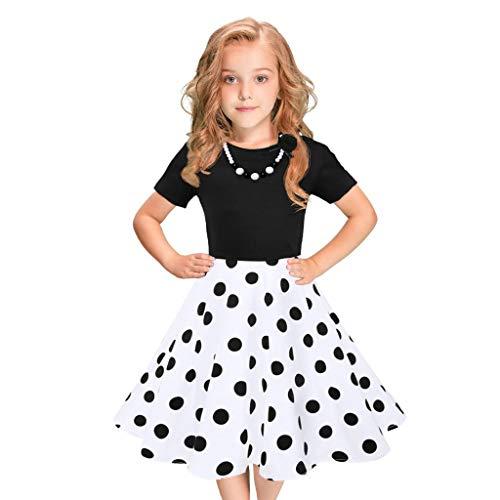 Obestseller Kleider für Mädchen Kinder Mädchen Vintage Kleid Polka Dot Prinzessin Kleider Kurzärmeliges Mädchen Polka Dot Kleid -