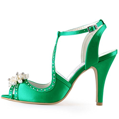 Elegantpark Sandali Ep11058 Strass Toe Wedding Stiletto Verde Donna In Shoes Pompe Raso Open Perla adg4aq