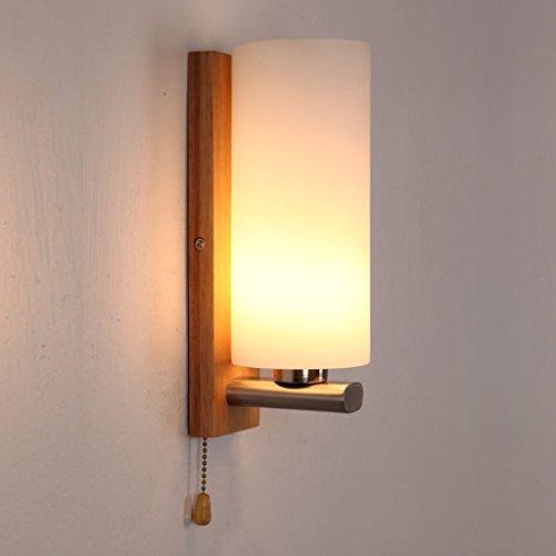 ^ HUWAI @ - mit Schalter kleine Wandleuchte Nachttischlampe Massivholz Schlafzimmer Wandleuchte kreativ Einzelkopf Japanische Querwand Lampe Nordic Treppenlicht