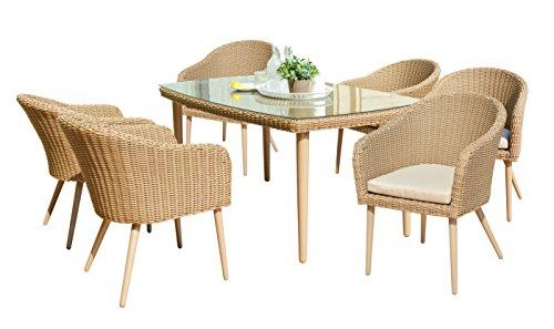 Maze Rattan msc-403020rechteckig 6-Sitzer Valencia Esstisch Set mit 160x 100cm Tisch in einem Geflecht–Licht Braun Ton (Alle Dining Wetter Wicker)