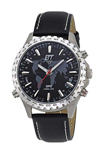 ETT Eco Tech Time GPS Quarz Weltzeit Herren Uhr Analog mit Leder Armband EGTB-10424-21L - Analog Gps
